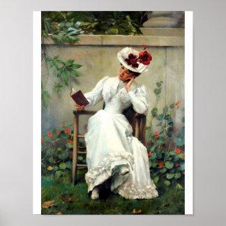Frauen-Lesung in einem Garten-Plakat Poster