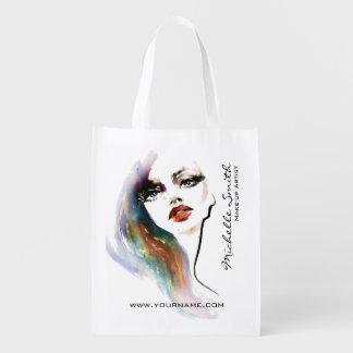 Frauen-Make-upeinbrennen des abstrakten Watercolor Wiederverwendbare Einkaufstasche