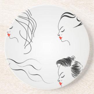 Frauen mit verschiedenen Frisuren Untersetzer