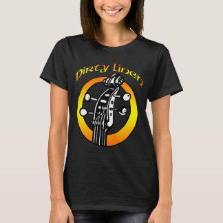 Frauen orange u. gelbes Logo auf einem dunklen T-Shirt