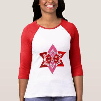 Frauen rosa und roter stilvoller Stern-T - Shirt