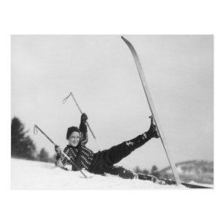 Frauen-Skifahrer 2 Postkarte