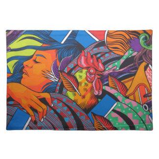 Frauen-u. Huhn-Wand-Wandgemälde Tischset