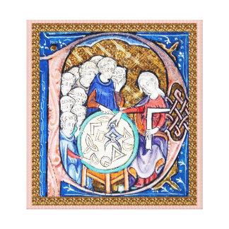 Frauen-unterrichtende Geometrie zu den Mönchen wic Leinwanddrucke