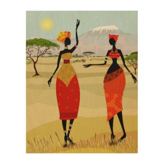 Frauen von Kenia-Animation Holzleinwand