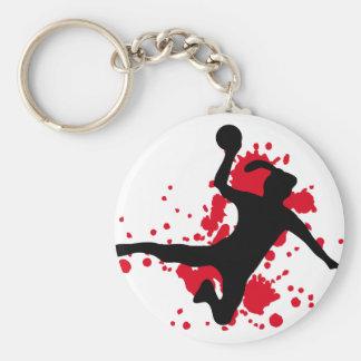 Frauenhandball Handballzeichen Standard Runder Schlüsselanhänger