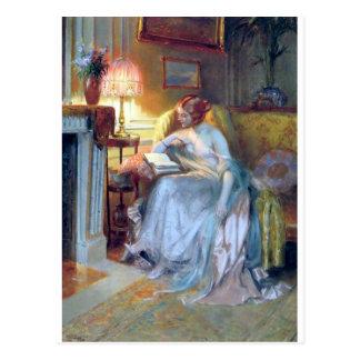 Frauenlesung durch die Lampenantikenmalerei Postkarte