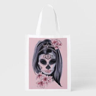 Frauenskelettmaske Wiederverwendbare Einkaufstasche