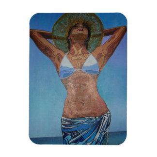 Frautragender Hut und Sarong, die Sommer genießen Magnet