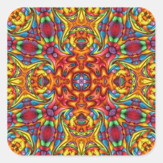 Freaky Tiki Kaleidoskop-   Aufkleber, 7 Formen Quadratischer Aufkleber