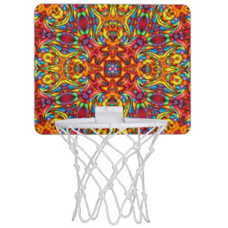 Freaky Tiki Vintage Kaleidoskop-Basketball-Bänder Mini Basketball Ring
