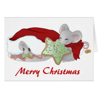 Freche und schüchterne Weihnachtsmäuse Grußkarten