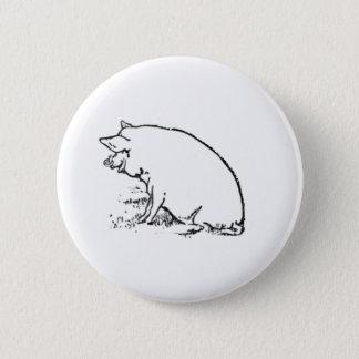 Frecher Schwein-Skizze-Entwurf Runder Button 5,1 Cm