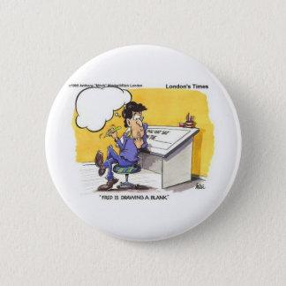 Fred zeichnet ein leere lustige Offbeat Runder Button 5,7 Cm