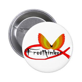 Freethinking-Fisch-Symbol Runder Button 5,1 Cm