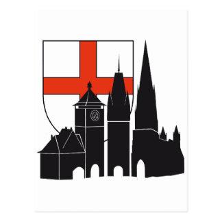 Freiburg Silhouette mit Wappen Postkarte