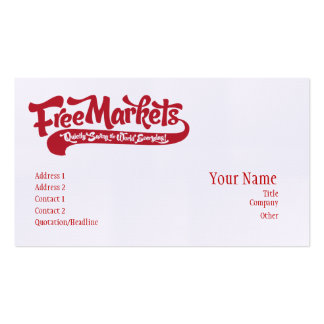 Freie Markt-Visitenkarte Visitenkarten