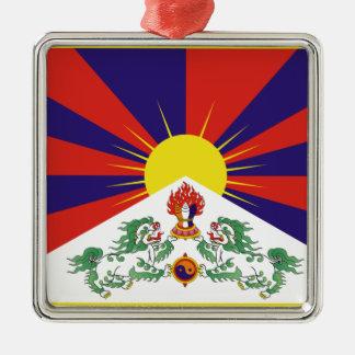 Freie Tibet-Flagge - Peu Rangzen བོད ་ རང ་ བཙན ་ Silbernes Ornament