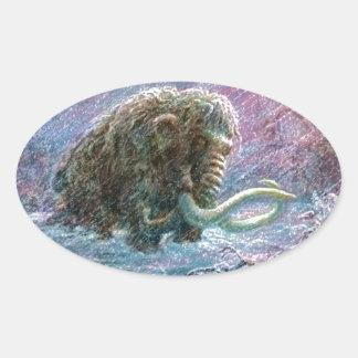 Freie wolliges Mammut-Eiszeit-Ausdauer Ovaler Aufkleber