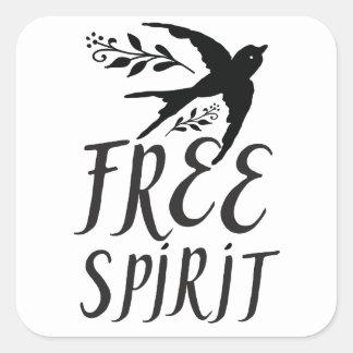 freier Geist mit hübschem Schwalbenvogel Quadratischer Aufkleber