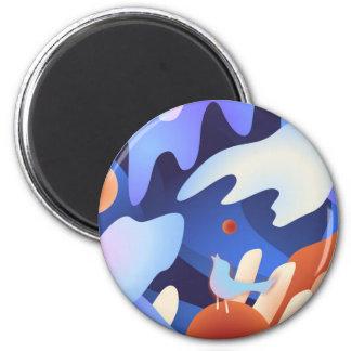 Freier Lied-Vogel Runder Magnet 5,1 Cm