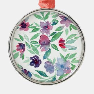 Freies Blumen - blaues, lila, grünes Rebe-Grün Silbernes Ornament