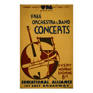 Freies Orchester berät sich 1938 WPA über Vintages Poster