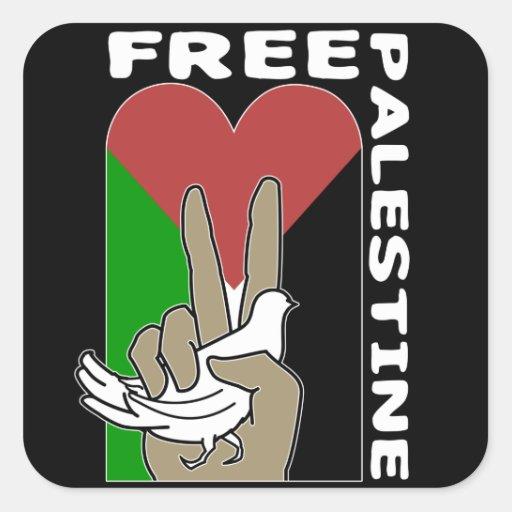 Freies Palästina-Tauben-Herz-Friedenszeichen Quadratsticker