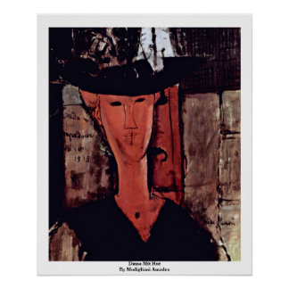 Freifrau Mit Hut By Modigliani Amadeo Plakat
