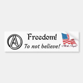 Freiheit zum nicht zu glauben autoaufkleber