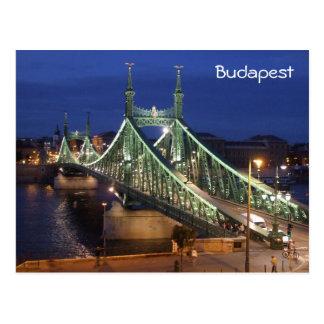Freiheits-Brücke bis zum Nacht - Budapest Postkarte