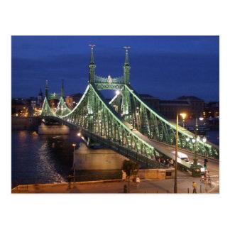 Freiheits-Brücke bis zum Nacht Postkarte