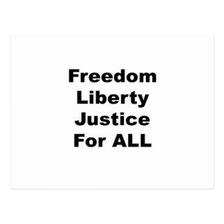 Freiheits-Freiheits-Gerechtigkeit für alle Postkarte