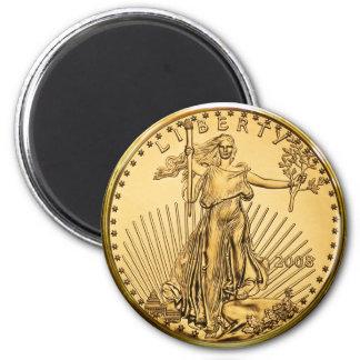Freiheits-Goldbarren-Münze Runder Magnet 5,1 Cm