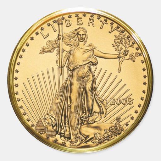 Freiheits-Goldbarren-Münze (Satz von 6/20) Stickers