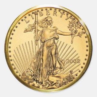 Freiheits-Goldbarren-Münze (Satz von 6/20) Runder Aufkleber