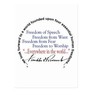 Freiheits-Tribut FDR vier Postkarte