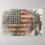Freiheitsstatue auf Vintager amerikanischer Flagge Poster