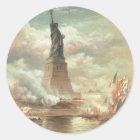 Freiheitsstatue, New York circa 1800's Runder Aufkleber
