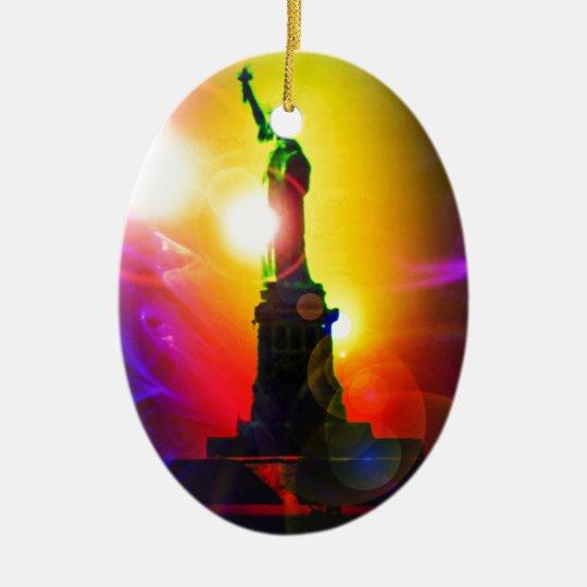 Freiheitsstatue  New York Ovales Keramik Ornament
