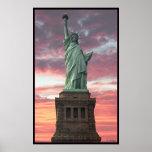 Freiheitsstatue/Sonnenuntergang Posterdruck