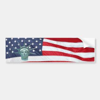 Freiheitsstatue und amerikanische Flagge Autoaufkleber