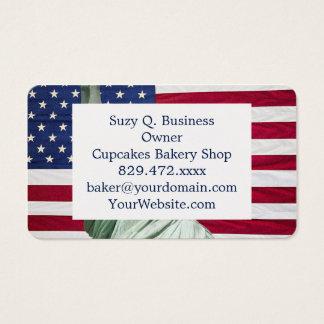 Freiheitsstatue und amerikanische Flagge Visitenkarte
