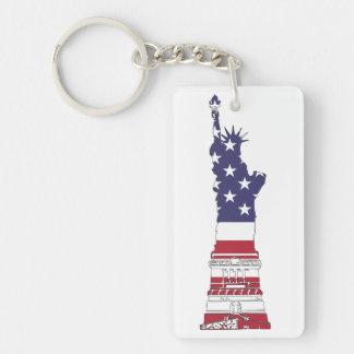 Freiheitsstatue, USA-Flagge, Sterne u. Streifen Schlüsselanhänger