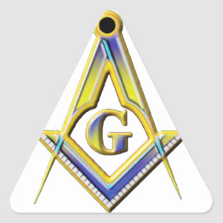 Freimaurer-Quadrat u. Kompassse Dreieckiger Aufkleber