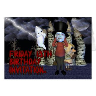 Freitag, den 13.-Geburtstags-Einladung, Karte