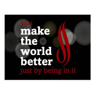 Freiwillige machen die Welt besser indem sie in Postkarte