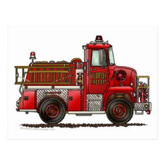 Freiwilliger Löschfahrzeug-Feuerwehrmann Postkarte