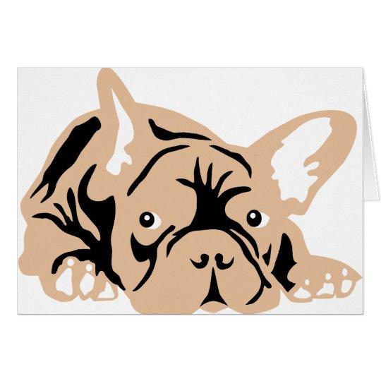 French Bulldog rose Karte