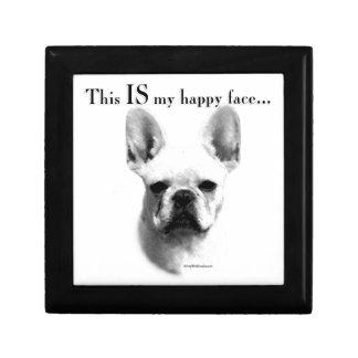 Frenchie glückliches Gesicht Schmuckschachtel